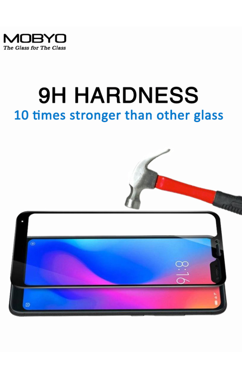 redmi 6 pro tempered glass screen protector 5d full glue 9h hardness