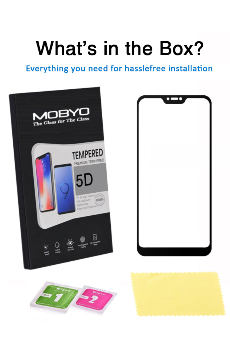 xiaomi redmi 6 pro tempered glass screen protector 5d full glue packaging
